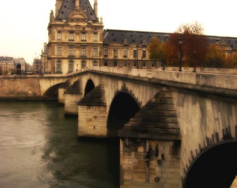 Instant Download Printable Photography Digital Photo Download Paris River Photo Paris Bridge Photo France Photo Fall Color Photo Castle