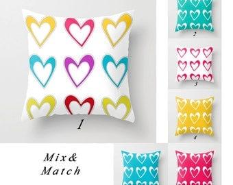 Colorful Pillows, Heart Pillow Covers, Pink Pillow, White Pillow, Yellow Pillow, Turquoise Pillows Bright Pillows Decorative Throw Pillows