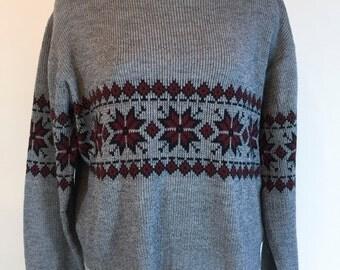 Vintage Ski Sweater Gray Navy Blue Sweater Snowflake Sweater Steep Slopes Sweater 1980s Winter Sweater Size Large Christmas Sweater