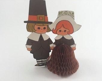 Vintage Honeycomb Pilgrims Thanksgiving Pilgrims By Hallmark Tissue Paper Pilgrims Thanksgiving Fall Autumn Decor Ephemera Die Cut