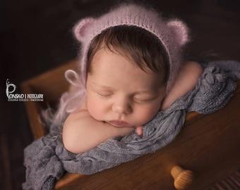 Mohair Bear Bonnet, Knit Baby Hat, Cub, Animal Ears, Newborn Hand Knitted Cap, Infant Photo, Mohair and Silk bonnet, newborn size