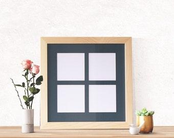 4- 5x5 Mat Display Frame, 14x14 Unfinished Wood Frame, Multiple Mat Frame, 5x5 frame, Wedding Pictures, Instagram photos, Window Frame