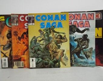Lot of 4 Vintage Marvel Conan Saga Magazine Size Comic Books; Issues 14, 17, 46 & 86