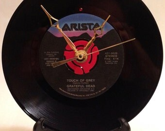 "Recycled GRATEFUL DEAD 7"" Record • Song: Touch of Grey • Psychedelic Record Clock"