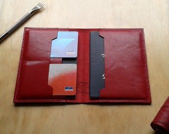 Leather passport cover red