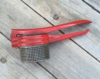 Vintage Potato Ricer with Red Handle, Handheld Potato Ricer