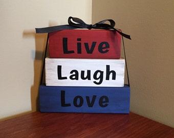 Live Laugh Love Wood Block Set Primitive Home Decor House