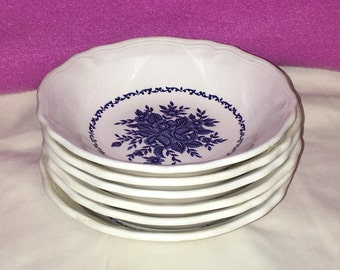 6 Vintage Mayhill Ironstone Bowls White w Blue Scrolls & Flowers Japan 4237 MINT