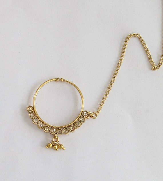 gold crystal nose ring chain hoop indian bridal by