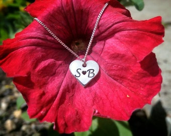Dainty Sterling Silver Personalised Initial Love Heart / Love Necklace ~ Gift For Girlfriend, Fiancé, Wife, Sweetheart