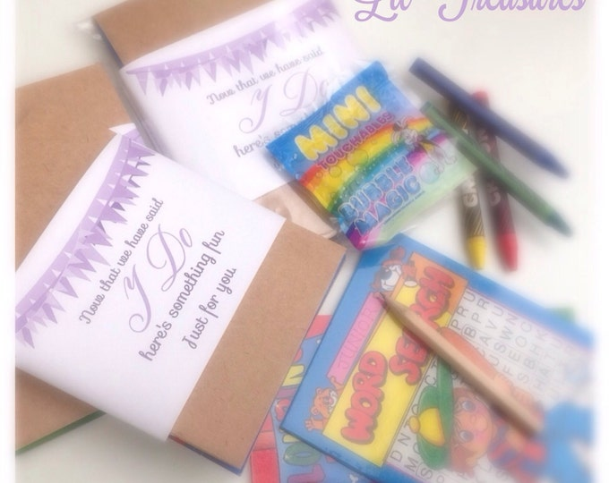 Childrens wedding activity packs. Design available in any colours | Wedding Favour packs | Brown Kraft | A6 | Rustic wedding favours | Party