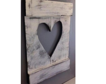 Rustic Wooden Cutout Heart OR Star / Wooden Wall Decor