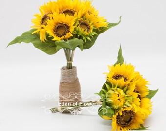 7 Pcs Silk Sunflowers Bouquet for Wedding Centerpieces, Bridal Bouquets,  Bridesmaid Bouquets