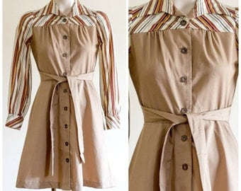 Long sleeve khaki shirt dress