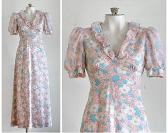 Empire waist short sleeve floral maxi dress