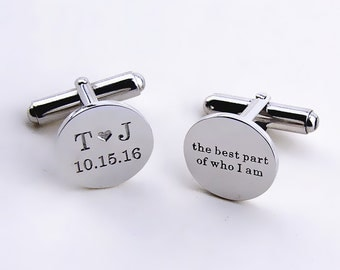 Personalized Wedding Date Cufflinks,Date and Initials Cufflinks,Custom Engrave Cufflinks,Personalized Groom Cufflinks With Heart,Men Gifts