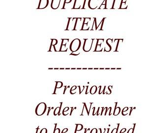 Duplicate Item Request