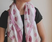 SALE 40% Hand Painted Silk Scarf - lips and kisses pink and white shawl