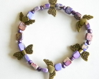 Purple Beaded Butterflies and Hearts Stretchy Bracelet