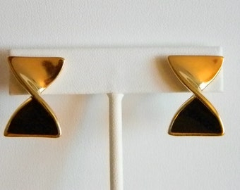 Gold Tone Black Enamel Twist Bow Tie Pierced Earrings
