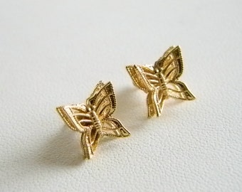 Tiny MONET Gold Tone Finish Butterfly Pierced Earrings