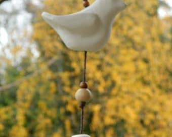 Ceramic bisque bird ornament