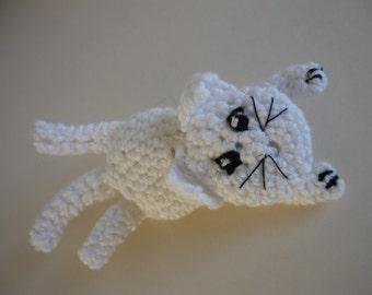 White cat brooch