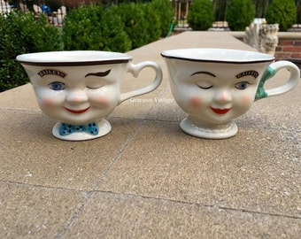 Vintage Baileys Set Of Two His & Hers Limited Edition Winking Yum Cups – Free Shipping