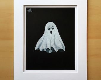 Halloween drawing, Halloween decor, wall art drawing, ghost drawing, original colored pencil drawing