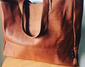 Tan Leather Shoulder Tote.Handmade, Traditional and classic, genuine leather tote shoulder bag has long strong straps,generous size shopper.