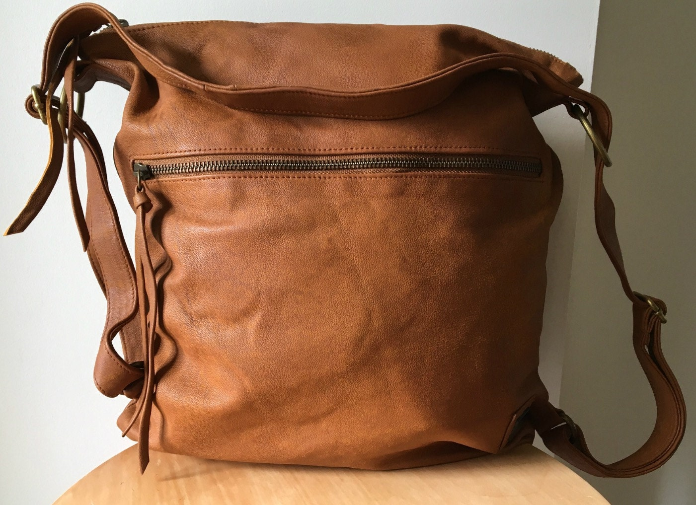 Backpack convertible leather bag.Real leather rucksack or ...