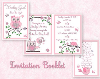 Owl Baby shower printable invitation baby girl digital booklet bring a book instead of a card double sided invite personalized pink gray