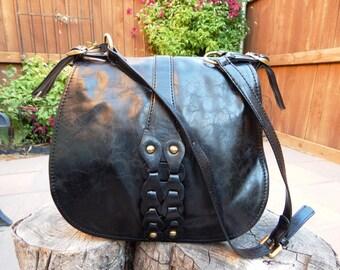 Black faux leather messenger bag