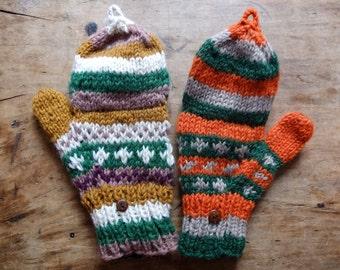 Green Fingerless Gloves / Mittens