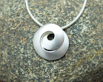 Silver Necklace, Silver Pendant, Swirl, Spiral, Moebius, Helical