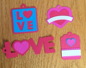 Valentine's Day tags, love tags, wedding tags, wedding favor tags, Valentine's Day party favor tags, present tags, red and pink tags