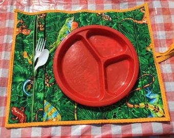 Lizard Placemat- Picnic Placemat- BBQ Placemat- Pocket Placemat- Children's Birthday