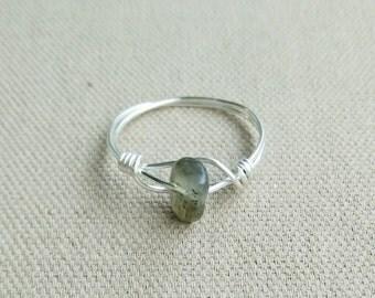 Labradorite Ring- Gemstone Ring- Labradorite Jewelry- Gemstone Jewelry- Silver Ring- Labradorite Silver Ring- Stack Ring- Healing Stone