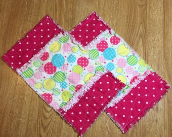 baby burp cloths, rag burp cloths, set of two, circles rag burp cloth, thick burp clothes, flannel burp clothes, baby gift