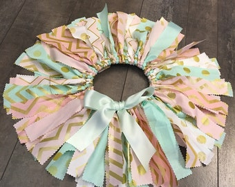 pink mint gold fabric tutu quick shipping , pink gold mint first birthday tutu