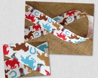"""New """" Galloping Horses"""" Grosgrain Fabric 1-1/2"""", Equestrian Ribbon, Horses Ribbon, 2 yards"""