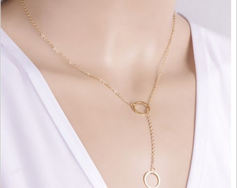 Fashion elegant Circle Lariat Necklace