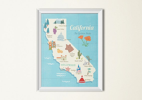 State Map Poster California State Print Retro Map - Children's maps to print