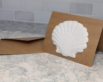 Set of 3 Handmade Scallop Shell Themed Cotton Linter Paper Blank Note Cards