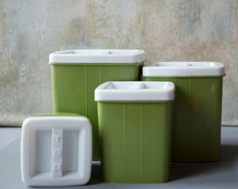 4 Avocado Green Plastic Canisters 1960s, Flour Sugar Coffee Tea Plastic Bins Retro, Nesting Canisters, Stackable Cannisters