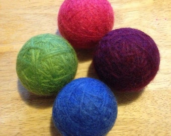 Felted Wool Dryer Balls, Set of 4 - Royal Blue, Bright Green, Pink and Purple