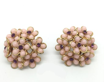 Vintage Flower Earrings Made of Brass, Glass & Thermoplastic circa 1960s