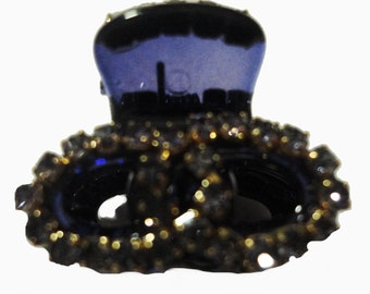 New Tiny Violet With Circular  Amber Rhinestone 1/2 '' Hair Claw Clip