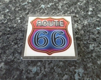 Route 66 Neon Sign Coaster. Americana, Retro Sign. Gift Idea