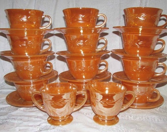 SALE! Vintage Fire King Peach Luster with Laurel Leaf Pattern Cups, Saucers, Creamer and Sugar by Anchor Hocking - Oven Ware, Orange Luster